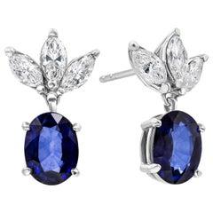 Oval Cut Blue Sapphire and Diamond Drop Earrings