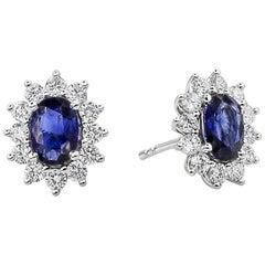 Roman Malakov, Oval Cut Blue Sapphire and Diamond Halo Flower Earrings