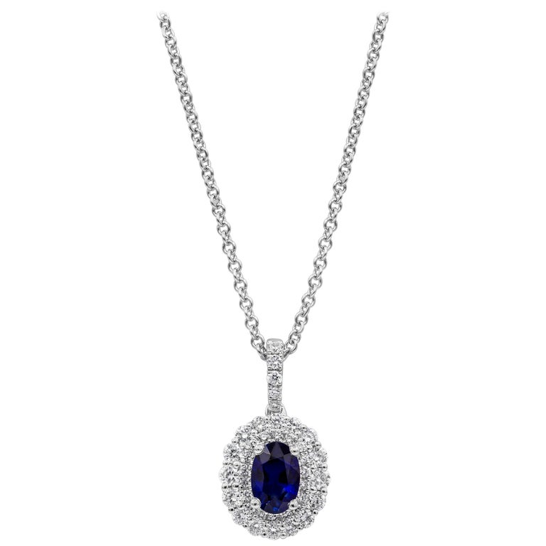 Oval Cut Blue Sapphire and Halo Pendant Necklace For Sale