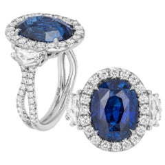 Oval Cut Blue Sapphire Diamond Engagement Ring Platinum 950