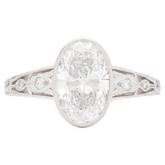 Oval Cut Diamond Art Deco Style Engagement Ring