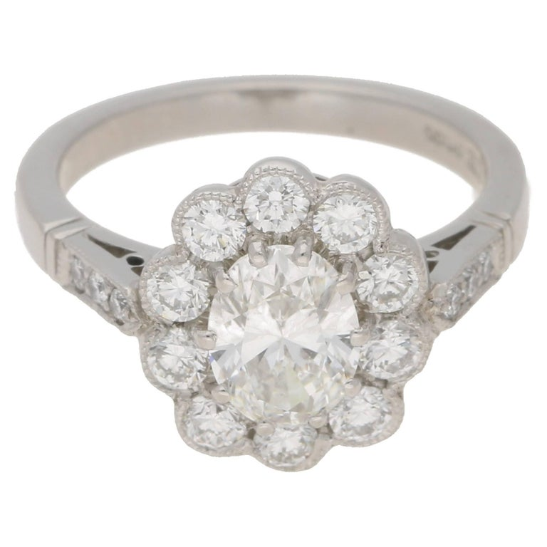 Oval Cut Diamond Cluster Engagement Ring
