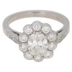 Oval Cut Diamond Cluster Engagement Ring Set in Platinum, 1.20 Carat
