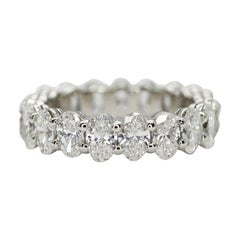 Oval Cut Diamond Eternity Ring with 3.70 Carat Total Weight in Platinum