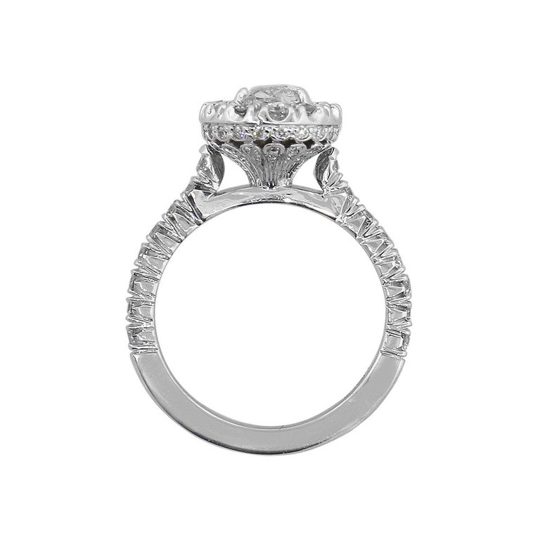 Oval Cut Diamond Halo Engagement Ring In Excellent Condition For Sale In Boca Raton, FL