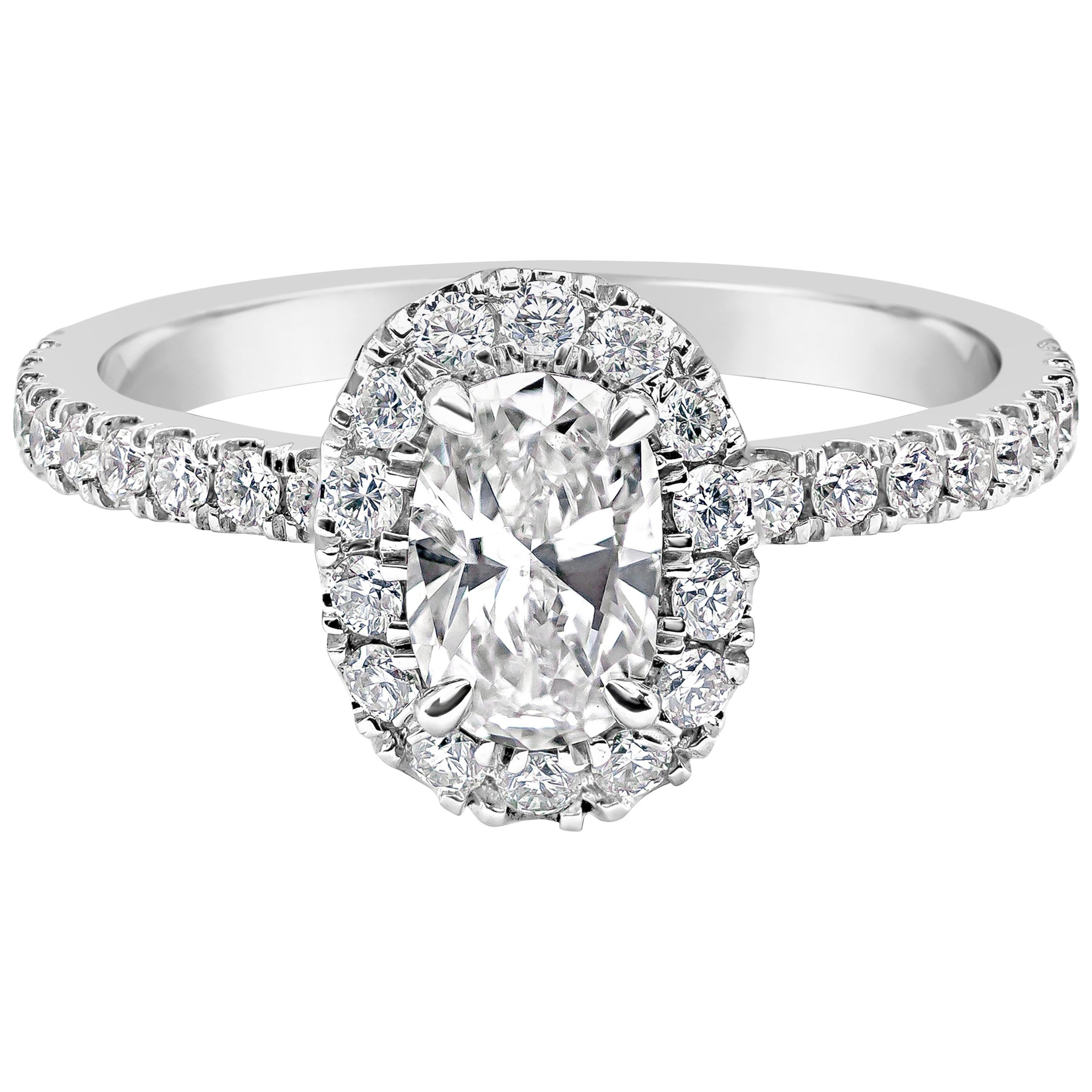 Roman Malakov Oval Cut Diamond Halo Engagement Ring