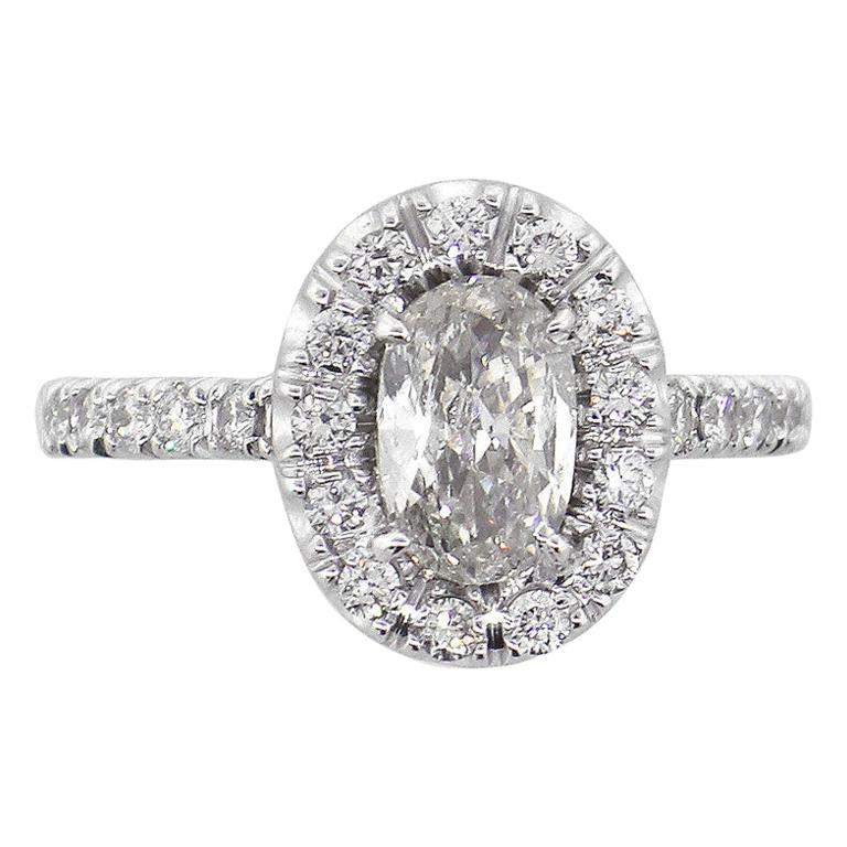 Oval Cut Diamond Halo Engagement Ring For Sale
