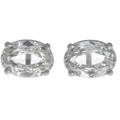 Oval Cut Diamond Stud Platinum Earrings