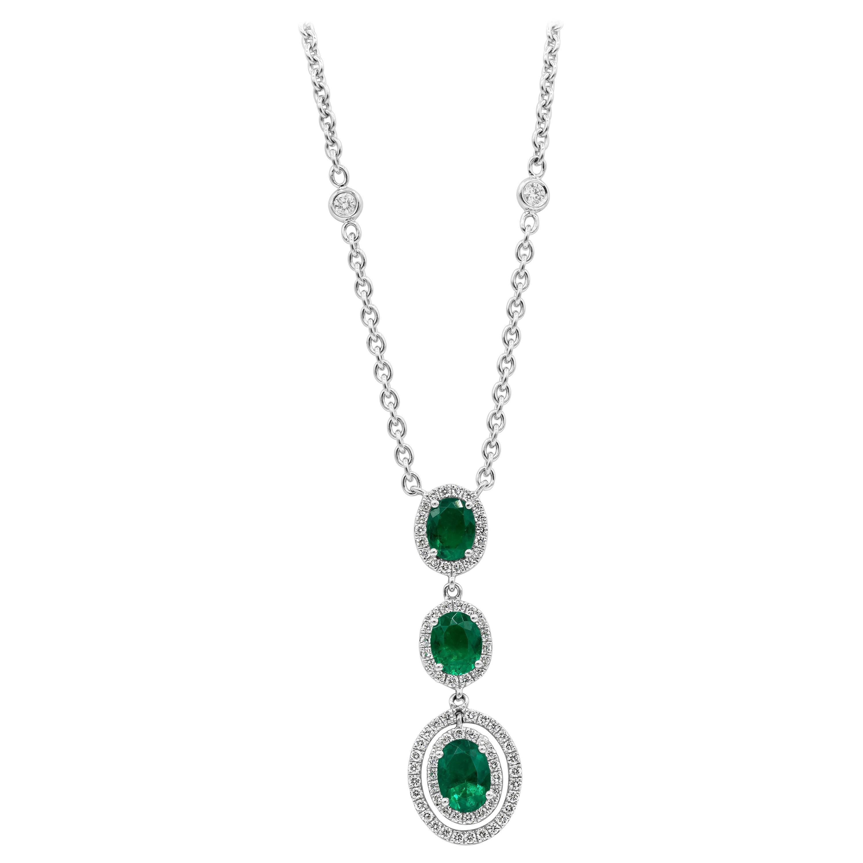 Roman Malakov Oval Cut Emerald Diamond Halo Drop Pendant Necklace