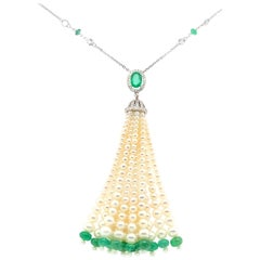 Oval-Cut Emerald, Emerald Beads, Pearls, and White Diamond Gold Tassel Necklace