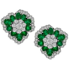Oval Cut Emerald Round Cut Diamond White Gold Earrings
