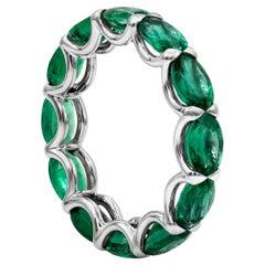 Oval Cut Green Emerald East-West Eternity Wedding Band