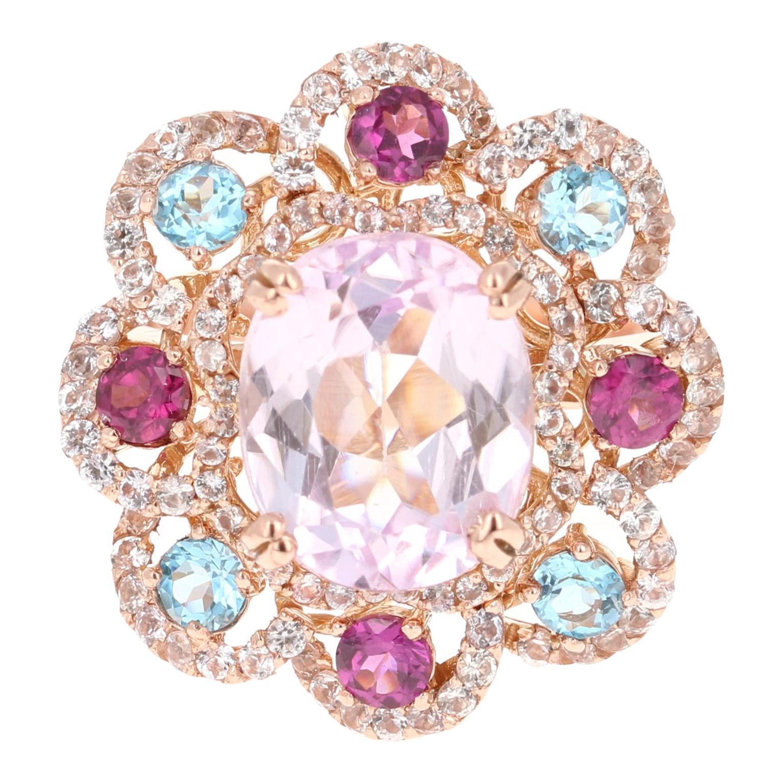 Oval Cut Kunzite Blue Topaz Garnet 14 Karat Rose Gold Cocktail Ring