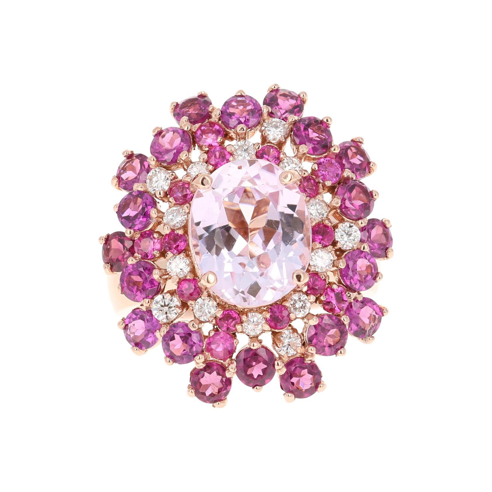 7.41 Carat Kunzite Sapphire Garnet 14 Karat Rose Gold Cocktail Ring