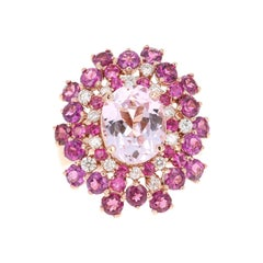 7.41 Carat Kunzite Sapphire Garnet 14 Karat Rose Gold Cocktail Ring
