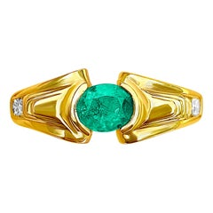 Oval Cut Natural Emerald Ring in 14K Yellow Gold