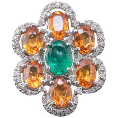 Oval Cut Orange Sapphire and Emerald 18 Karat Cocktail Gold Ring