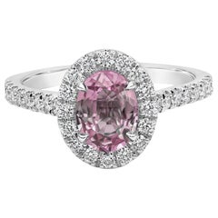 Roman Malakov Oval Cut Pink Sapphire and Diamond Halo Engagement Ring
