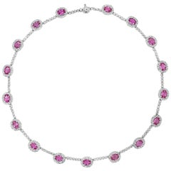 Oval Cut Pink Sapphire and Diamond Halo Necklace