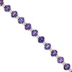 Oval Cut Purple Sapphire and Round Diamond Bracelet