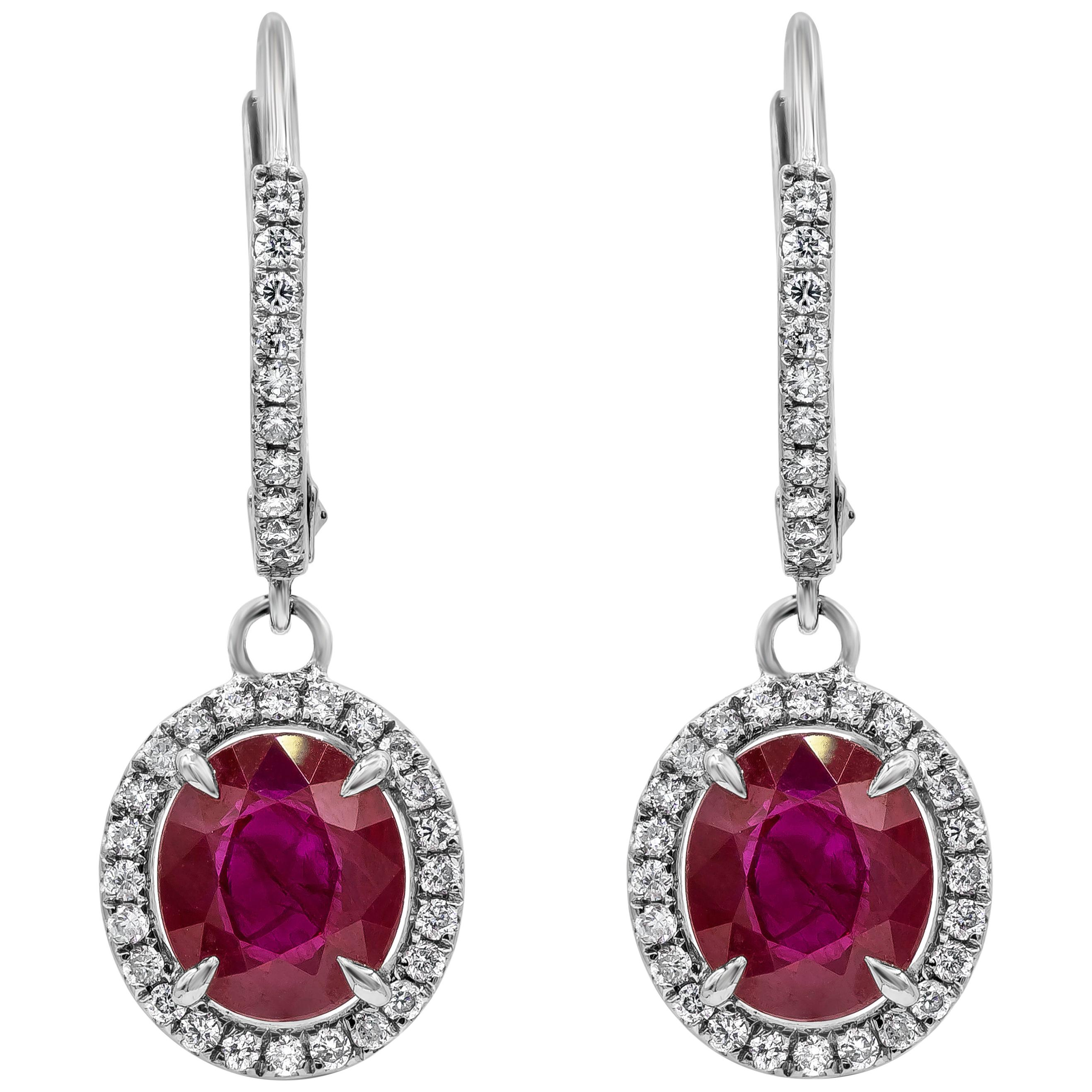 Roman Malakov, Oval Cut Ruby and Diamond Halo Dangle Earrings
