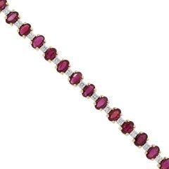Oval Cut Ruby and Round Diamond Bracelet