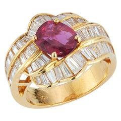 Oval Cut Ruby & Baguette Cut Diamonds Ring