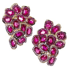 Oval Cut Ruby, Pink Sapphire and Diamond Contemporary Yellow Gold Drop Earrings