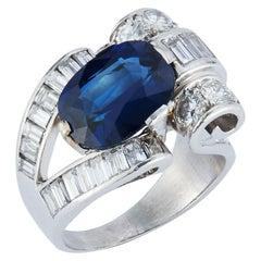 Oval Cut Sapphire & Baguette Diamond Ring