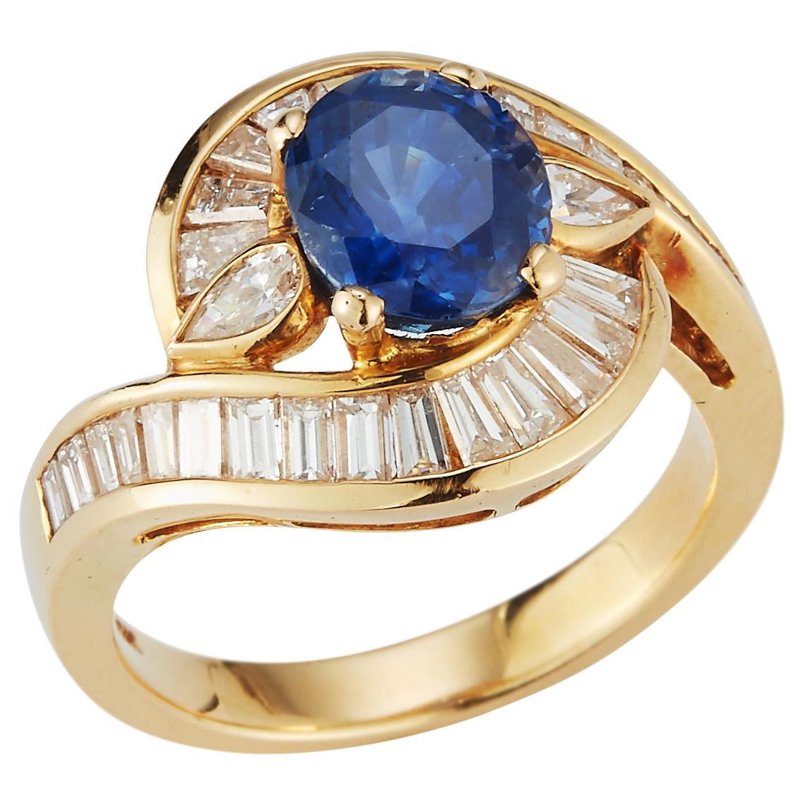 Oval Cut Sapphire & Diamond Cocktail Ring