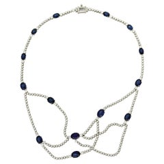 Oval-Cut Sapphire Necklace, 20.13 Carats