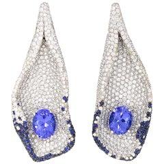 Oval Cut Tanzanite, Diamond and Sapphire White Gold Dangle Earrings