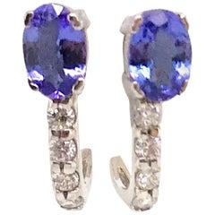 Oval Cut Tanzanite Diamond Huggie Earrings 1.17 Carat 14 Karat White Gold