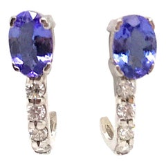Oval Cut Tanzanite Diamond Huggie Earrings 1.17 Carat 14 Karat White Gold