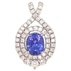 Oval Cut Tanzanite Diamond Pendant 1.29 Carat 14 Karat White Gold