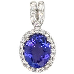 Oval Cut Tanzanite Diamond Pendant 2.68 Carat 18 Karat White Gold