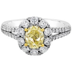 Oval Cut Yellow Diamond Halo Split-Shank Engagement Ring