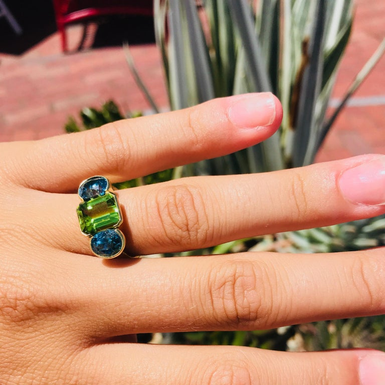 Oval Cut Zircon and Emerald Cut Peridot 18 Karat Gold Ring In New Condition For Sale In Nantucket, MA