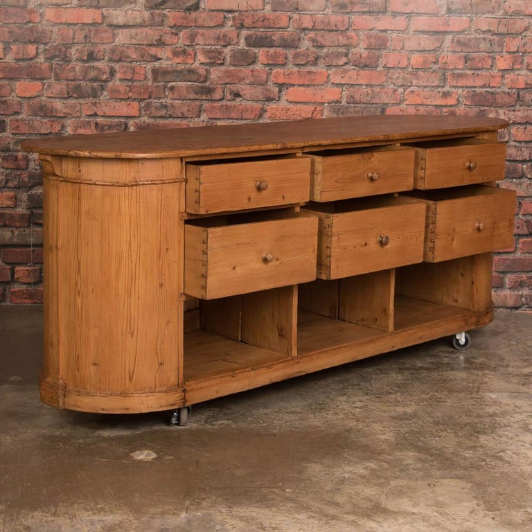 Natural Pine Kitchen Cabinets: Oval Danish Antique Pine Grocer's Counter / Kitchen Island