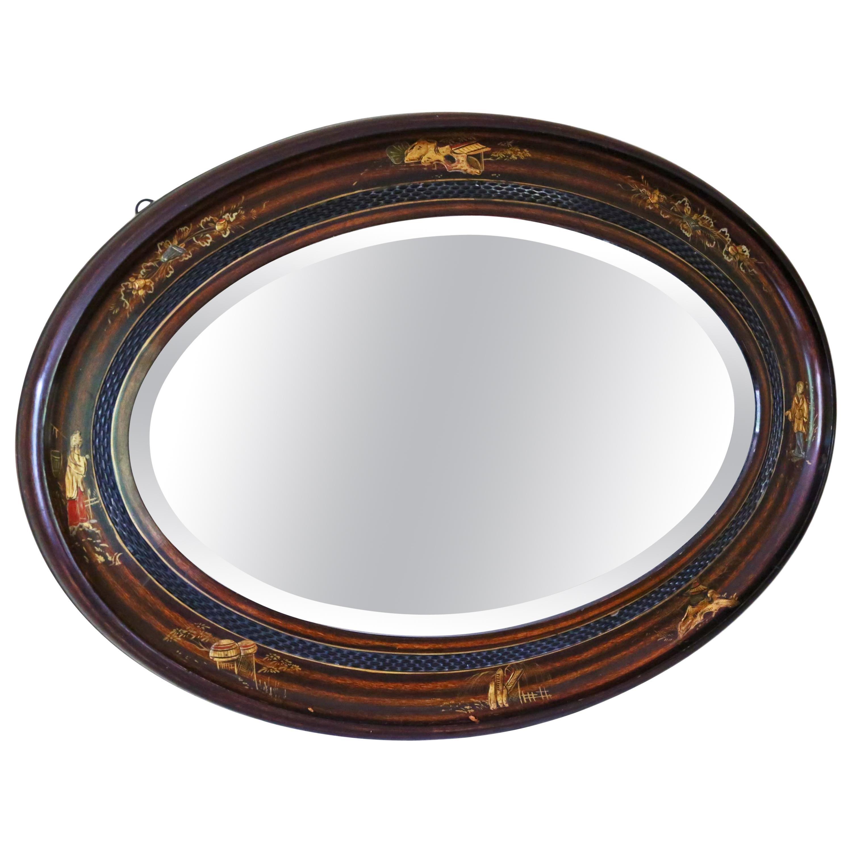 Oval Decorated Mahogany Chinoiserie Mirror