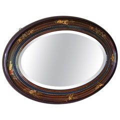 Oval Decorated Mahogany Chinoiserie Mirror