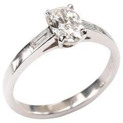Oval Diamond 0.91 Carat Platinum Ring