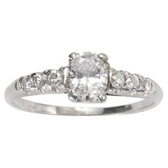 Oval Diamond and Platinum Ring, 0.51 Carat