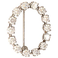 Oval Diamond Brooch in White Gold