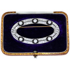 Oval Diamond Brooch with Openwork Design in Fitted Case