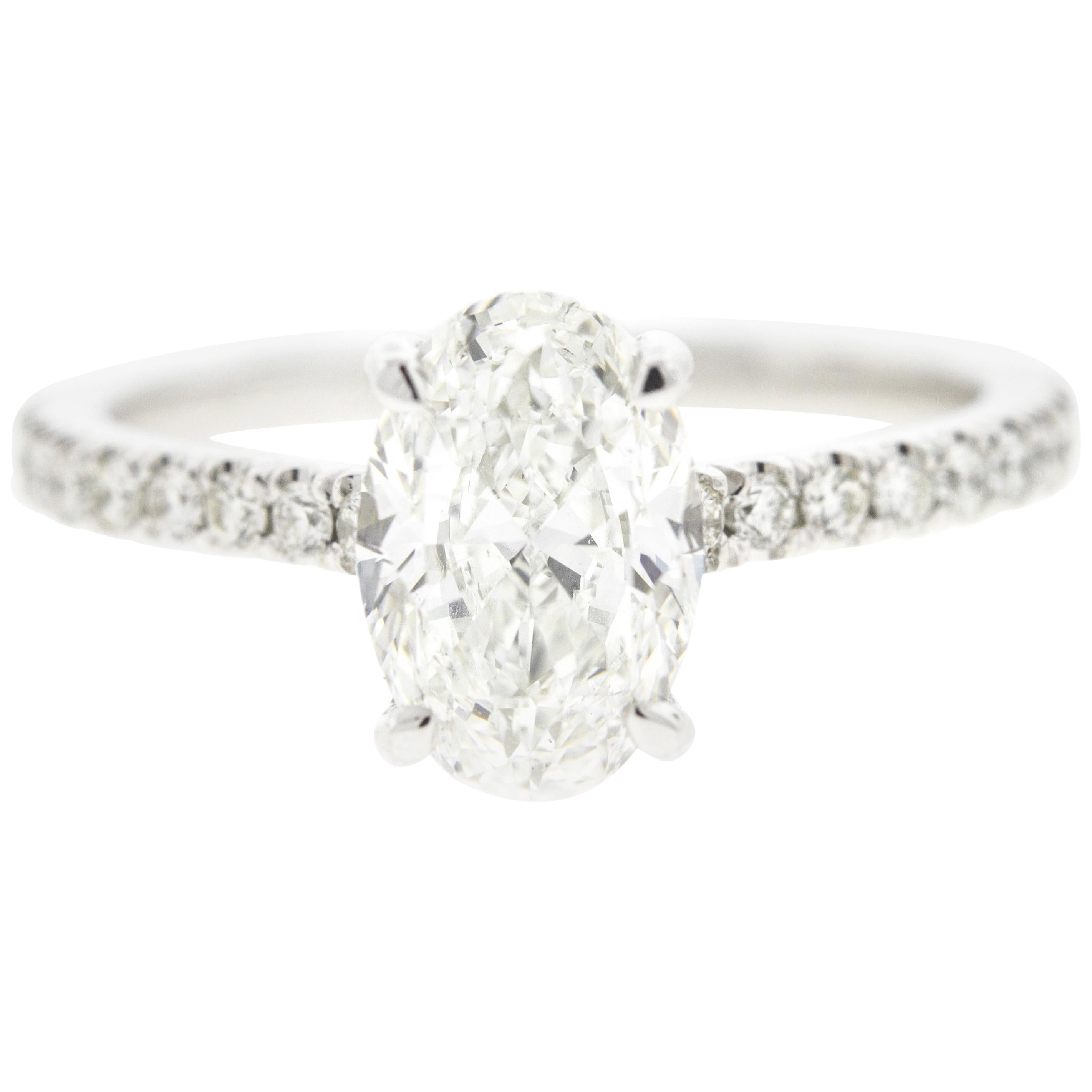 Oval Diamond Engagement Ring with Hidden Diamond Halo, Pave on the Shank