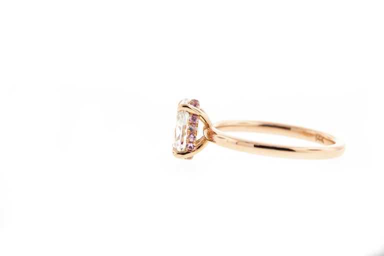 Modern Oval Diamond Engagement Ring with Pink Sapphire Hidden Halo, Rose Gold For Sale