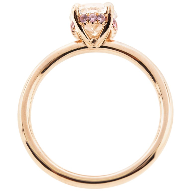 Oval Diamond Engagement Ring with Pink Sapphire Hidden Halo, Rose Gold For Sale