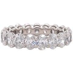 Oval Diamond Eternity Band 4.75 Carat 18 Karat White Gold