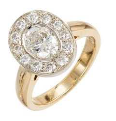 1.02 Carat Oval Diamond Halo Gold Engagement Ring